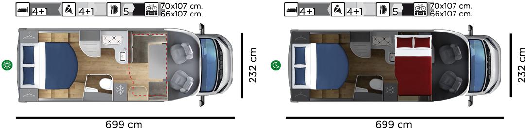 Autocaravana GiottiLine Therry T34 2021 planta