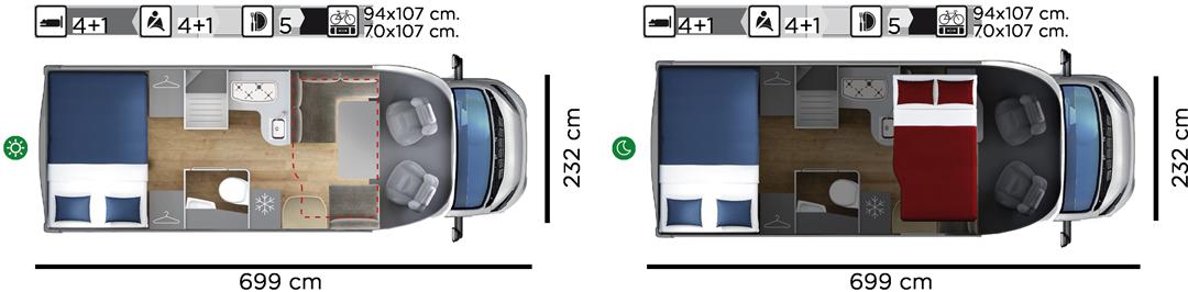 Autocaravana GiottiLine Therry T36 2021 planta